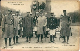 Postcard (Militaria) - France Metz 1918-11-18 Colonels: Matter, De Vaulgrennant, General Mac Mahon, Alexis Samain - Régiments