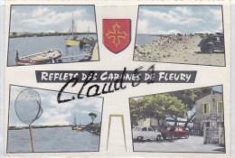 Reflets Des Cabanes De Fleury (11)  Multivues ,la Plage, Voitures Des Années60/ 70:2 CV, Dyna Panhard,R8 - Frankreich