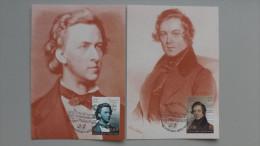 Vatikan 1677/8 YT 1542/3 Maximumkarte MK/MC, ESST, 200 Geb. Von Fryderik Chopin Und Robert Schumann. - Maximumkarten (MC)