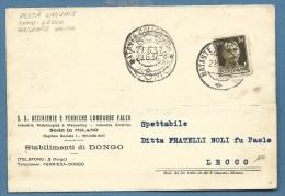 1937 -  NATANTE COLICO - COMO - CARTOLINA PUBBLICITARIA ACCIAIERIE LOMBARDE FALCK - STABILIMENTO DI DONGO PER LECCO - Storia Postale
