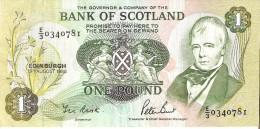 BILLETE DE ESCOCIA DE 1 POUND DEL AÑO 1988  (BANKNOTE) - [ 3] Escocia