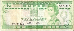 BILLETE DE FIJI DE 2 DOLLARS DEL AÑO 1980    (BANKNOTE) TREN-TRAIN-ZUG - Fidji