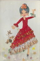 SPANISH DANCING LADY. EMBROIDERED/SILK DRESS. - Postcards