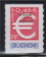 = Saint Pierre Et Miquelon N°C700 L'Euro 0.46€ Soit 3.00F Rouge Neuf Autocollant - St.Pierre & Miquelon