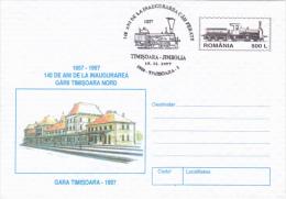 TRAIN, LOCOMOTIVE, TIMISOARA- JIMBOLIA RAILWAYS ANNIVERSARY, COVER STATIONERY, ENTIER POSTAL, 1997, ROMANIA - Trains