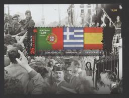 SOUVENIR SHEET  SOUVENIR SHEET PORTUGAL 2014 25 DE ABRIL REVOLUTION & GREECE & SPAIN Flags Tank Car Army People 25 APRIL - Autres