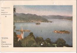 R13-395 - TESSERA LIBERA NAVIGAZIONE LAGO MAGGIORE - ARONA CANNOBIO - ANNI '40-50