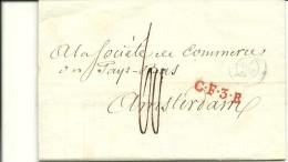 Vouwbrief 1843 Van Parijs Naar Amsterdam Met Rayonstempel C.F.3.R. In Rood - Frankrijk