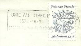 Plaatfout 1172pm2, Blauw Puntje Boven Hand, Op Envelop Met Stempel UNIE VAN UTRECHT; Vouw Door Bovenrand Zegel - Plaatfouten En Curiosa
