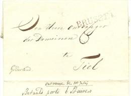 "Briefomslag Naar TIEL Met Stempel BRUSSEL In Rood, Met Aanduiding ""Betaald Porto 6 Stuivers"" ; - ...-1852 Voorlopers"