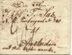 """Brief, 1843 Verzonden Naar Amsterdam """"met Stalen Zonder Waarde"""", Met Stempel HELLEVOETSLUIS  (PEP -06) - Nederland"""