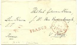 Briefomslag, Netjes Dichtgeplakt, Potloodnotitie 1835, Naar Den Haag, Met Stempel GORINCHEM + FRANCO (PEP 10140-15 + 12 - ...-1852 Voorlopers