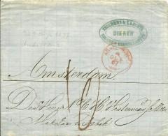 Briefomslag 1867 Van DIEREN, Zwak Langstempel, Naar AMSTERDAM, Met Traject-takjestempel ARNH:-OLDENZ - Nederland