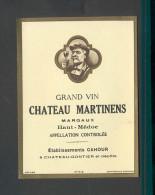 Etiquette De Vin  -  Chateau Martinens -  Haut Médoc - ND 50/60 ? -  Cru Bourgeois -  Ets Cahour à Chateau Gontier (53) - Bordeaux