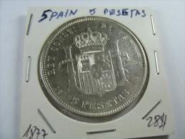 SPAIN 5 PESETAS SILVER 1877ALFONSO  HIGH GRADE LOT 17 NUM 9  . - [ 1] …-1931 : Royaume