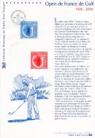 """(Prix à La Poste = 5 €)  """" 100 ANS DE L´OPEN DE FRANCE DE GOLF """" Sur Doc. Officiel. N° YT 3935. Parfait. DPO"""