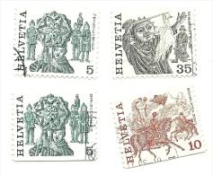 1984 - Svizzera 1033a + 1038a + 1033b + 1034d Ordinaria C3244 - Da Libretto, - Schweiz