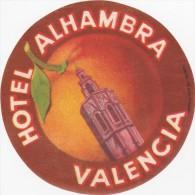 ETIQUETTE D´HÔTEL VALISE MALLE  -  HOTEL ALHAMBRA VALENCIA - Hotel Labels