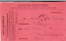 1914 - CARTE-REPONSE FM Du DEBUT De La GUERRE Pour THIZY - Marcophilie (Lettres)