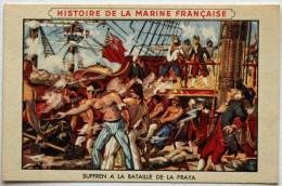 Chromo Pub Cirage Lion Noir : Histoire De La Marine Française, Suffren à La Bataille De La Praya ( îles Du Cap Vert ). - Trade Cards
