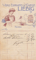 DEPLIANT PUBBLICITARIO ESTRATTO CARNE LIEBIG  CUOCA  LIBERTY  1909? DUE SCANNER -2-0882-20451-450 - Pubblicitari
