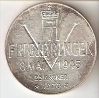 MONEDA DE PLATA DE NORUEGA DE 25 KRONER DEL AÑO 1970  (COIN) SILVER - ARGENT - Noruega