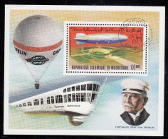 Mauritania Used Scott #C169 Souvenir Sheet 100um 'Fuhrersland' Zeppelin Over 1936 Olympic Stadium - Mauritanie (1960-...)