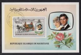 Mauritania Used Scott #483 Souvenir Sheet 100um Prince Charles, Lady Diana, Wedding Coach - Royal Wedding - Mauritanie (1960-...)