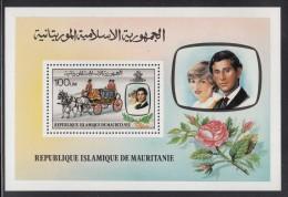 Mauritania MNH Scott #483 Souvenir Sheet 100um Prince Charles, Lady Diana, Wedding Coach - Royal Wedding - Mauritanie (1960-...)