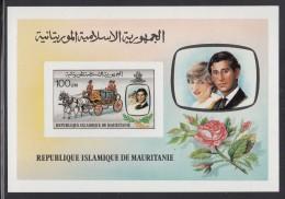 Mauritania MNH Scott #483 Imperf Souvenir Sheet 100um Prince Charles, Lady Diana, Wedding Coach - Royal Wedding - Mauritanie (1960-...)