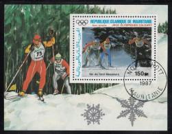 Mauritania Used Scott #C261 Souvenir Sheet 150um Men's Cross-country Skiing - 1988 Winter Olympics, Calgary - Mauritanie (1960-...)