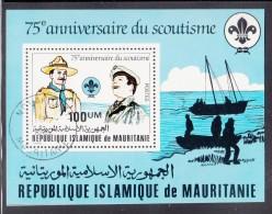 Mauritania Used Scott #499 Souvenir Sheet 100um Baden-Powell, Scout - 75th Anniversary Scouting - Mauritanie (1960-...)