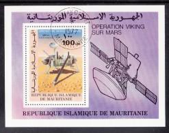 Mauritania Used Scott #C176 Souvenir Sheet 100um Viking Lander Using Probe - Mars Viking - Mauritanie (1960-...)