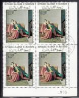 Mauritania Used Scott #C66 Lower Right Plate Block 90um 'Francesca Da Rimini' By Ingres - Mauritanie (1960-...)