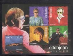 Malta MNH Scott #1134 Souvenir Sheet 1pd50 Valletta Bastions Plus 4 Labels - Elton John Concert - Malte