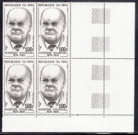 Mali MNH Scott #C214 Lower Right Block Of 4 With Selvedge 500fr Sir Winston Churchill - Mali (1959-...)