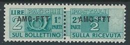 1949-53 TRIESTE A PACCHI POSTALI 2 LIRE MH * - ED070 - Paketmarken/Konzessionen