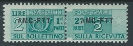 1949-53 TRIESTE A PACCHI POSTALI 2 LIRE MH * - ED070-2 - Paketmarken/Konzessionen