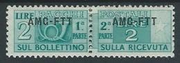 1949-53 TRIESTE A PACCHI POSTALI 2 LIRE MH * - ED070-3 - Paketmarken/Konzessionen