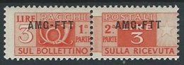 1949-53 TRIESTE A PACCHI POSTALI 3 LIRE MH * - ED072-4 - Paketmarken/Konzessionen