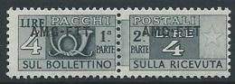 1949-53 TRIESTE A PACCHI POSTALI 4 LIRE MNH ** - ED073-5 - Paketmarken/Konzessionen