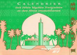 AIR FRANCE  CALENDRIER   Fetes Légales Françaises Et Musulmanes  1998 - Stationery