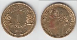 **** AFRIQUE OCCIDENTALE FRANCAISE - AOF - 1 FRANC 1944 **** EN ACHAT IMMEDIAT !!! - Monnaies