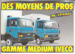 CAMIONS & POIDS LOURDS - IVECO Les Nouveaux MEDIUM : PUB Deux Camions 5.9 à 14.5 T - CPSM CPM GF - - Camion, Tir