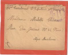LETTRE FM POSTE DE DAR OULD ZIDOUH MAROC 1916 TROUPES D OCCUPATION 114EM TERRIT D INFANTERIE POUR NICE     Tdc - Marcophilie (Lettres)