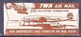 US  AERO PHILETHELIC  HELICOPTOR MAIL  LABEL  ** - 2b. 1941-1960 Unused