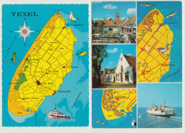 2  POSTCARDS : TEXEL  (NEDERLAND / HOLLAND)  - MAPS / CARTES / KAARTEN / MAPA / KORT  (2 Scans) - Cartes Géographiques