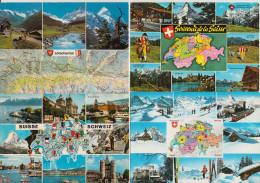 8 POSTCARDS : SUISSE / HELVETIA / ZWITSERLAND - MAPS / CARTES / KAARTEN - Multiviews  (3 Scans) - Cartes Géographiques