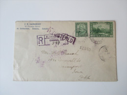Kanada 1929 Registered Letter From St. Catharines Ont. Original No. 599 To USA Mit 13 Abstempelungen! - 1911-1935 George V
