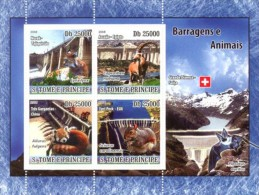 SAO TOME ARCHITECTURE DAMS AND ANIMALS LYNX DEER RED PANDA SQUIRREL S/S MNH C8 ST8608 - Timbres
